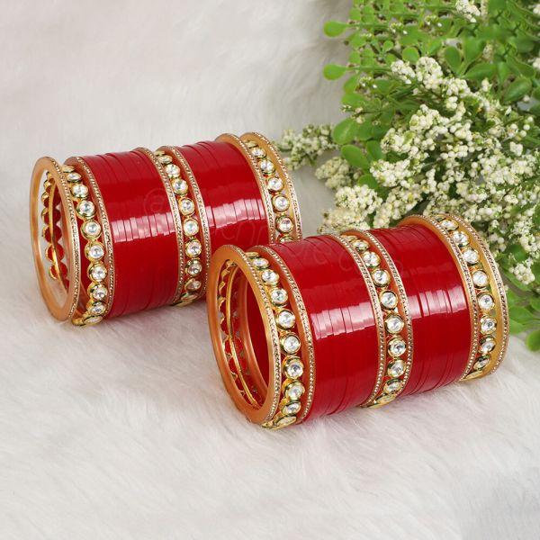 Red Wedding Chura With Kundan Bangles