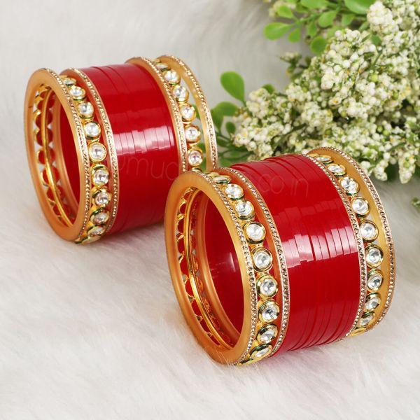 Bridal Small Chura With Kundan Bangles