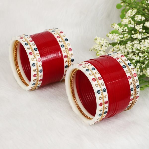 Bollywood Bridal Red Choora With Gold Bangle For Wedding