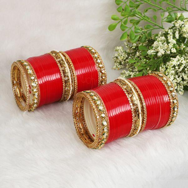 Red Bridal Chura With Traditional Kundan Kangan