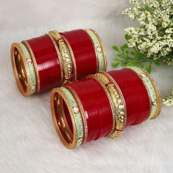 Mint Green Meenakshi Bangles With Red Wedding Chura