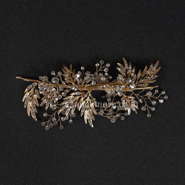 White Crystal Gold Tone Beaded Comb Clip For Girls