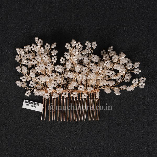 White Gold Tone Pearl Beaded Heavy Comb Clip
