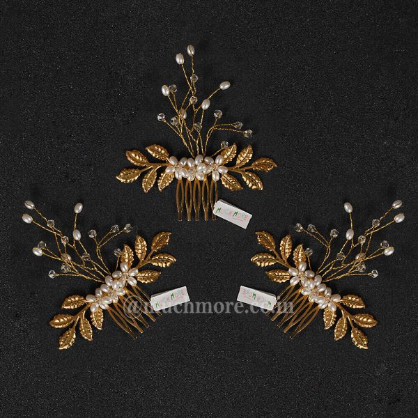 Gold Tone Crystal Beaded Leaf Hair Comb Clip