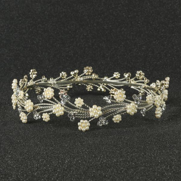 Silver Flower Crown Hair Comb