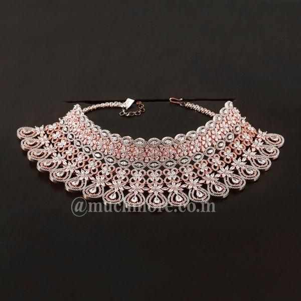 Crystal Shine Chandelier Earrings In Silver Rose Gold Bridal Set