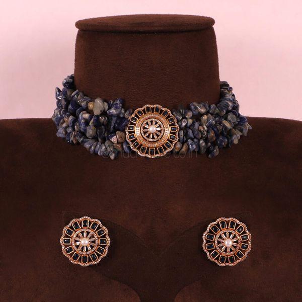 Blue Natural Cut Beads Choker Necklace Set