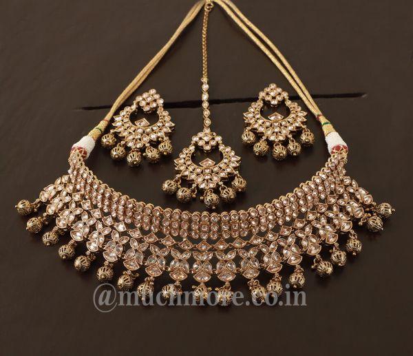 Elegant Gold Plated  Reverse Ad Choker Necklace Set