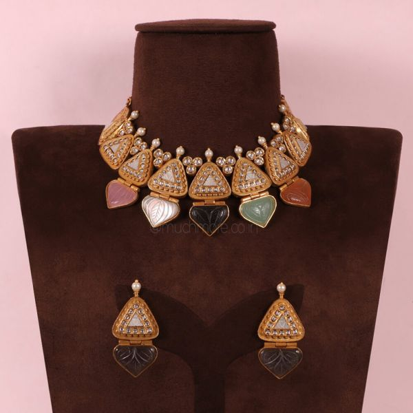 Designer Navratana Choker Necklace Jewelry For Women