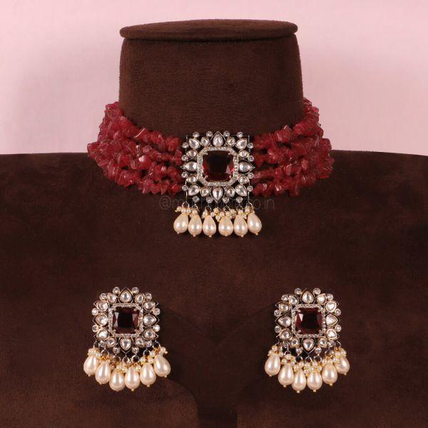 Ruby Natural Beads Kundan Choker Set Online
