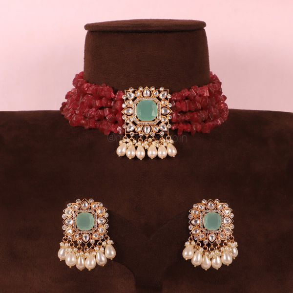 Mint With Ruby Designer Choker Necklace With Earrings