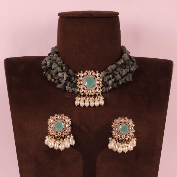 Mint Green Kundan Designer Choker Jewelry Online