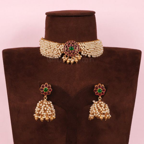 Ruby Emerald Green Motif Choker Necklace With Jhumka
