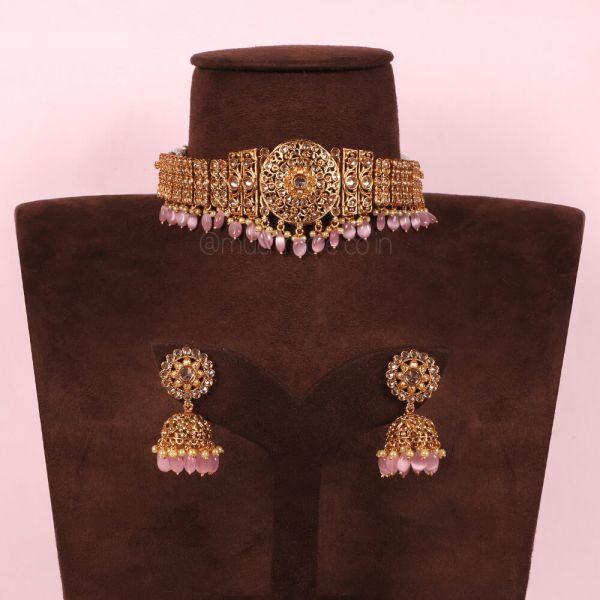 Baby Pink Droppings Stylish Choker Necklace