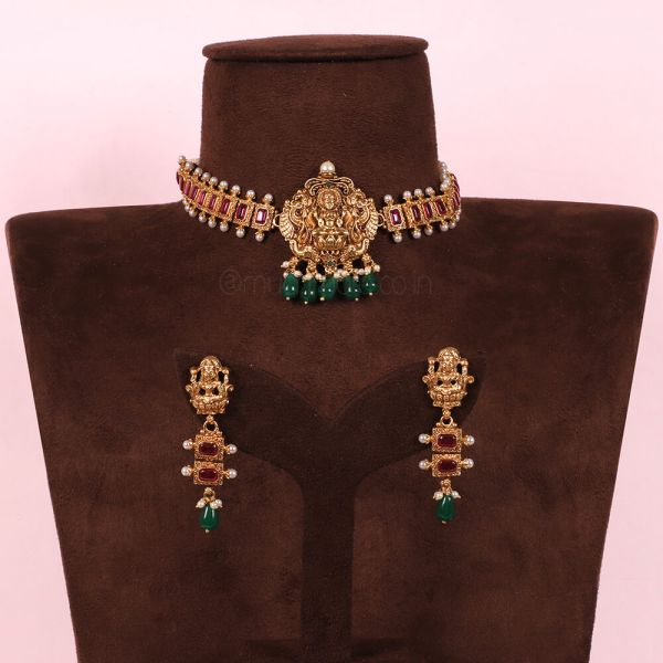 Temple Work Emerald Green Drop With Ruby Choker Set