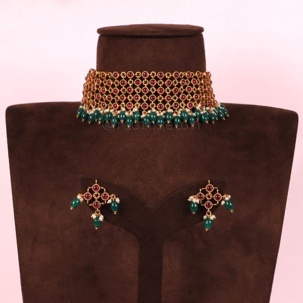 Ruby Gold Tone Temple Work Necklace And Earrings With Emeralds