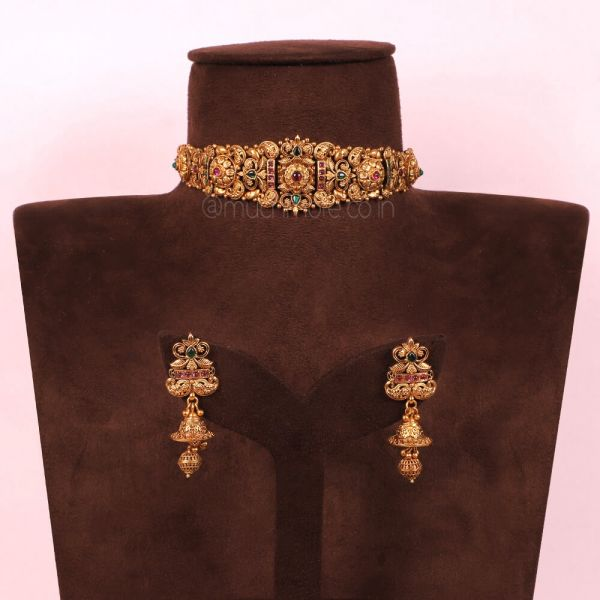 Gold Polki Necklace With Tourmaline And Earrings