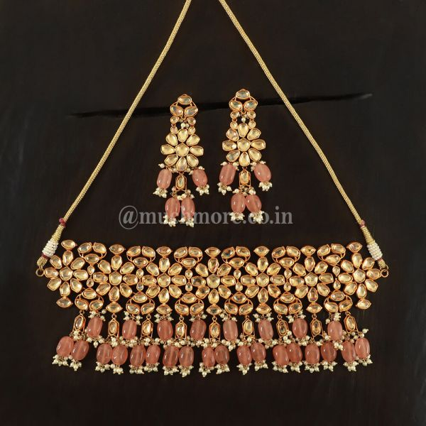 Necklace With Earrings Made Using High Quality Pachi Kundan