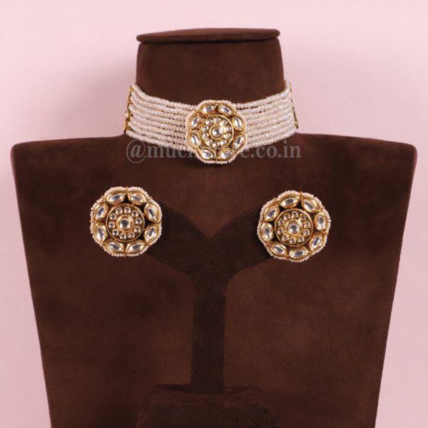 Ivory Gold Tone Kundan Beaded Choker Necklace