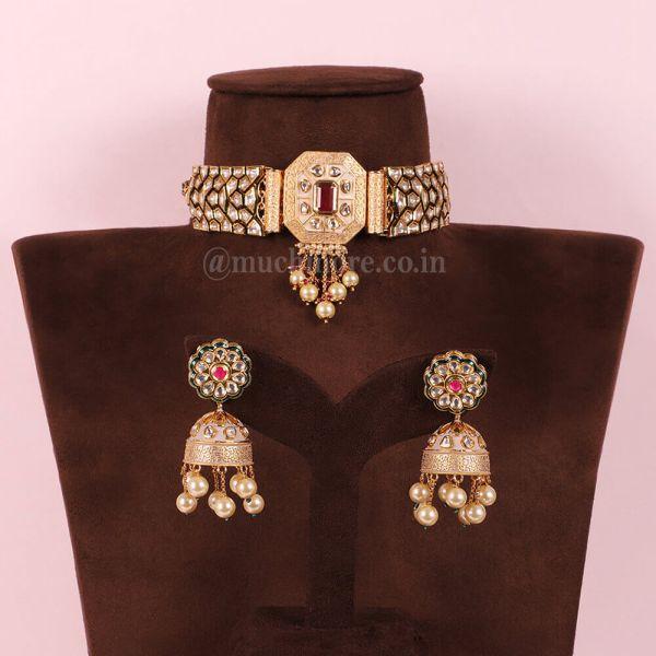 Pink And Ruby Kundan Choker Jewellery Set