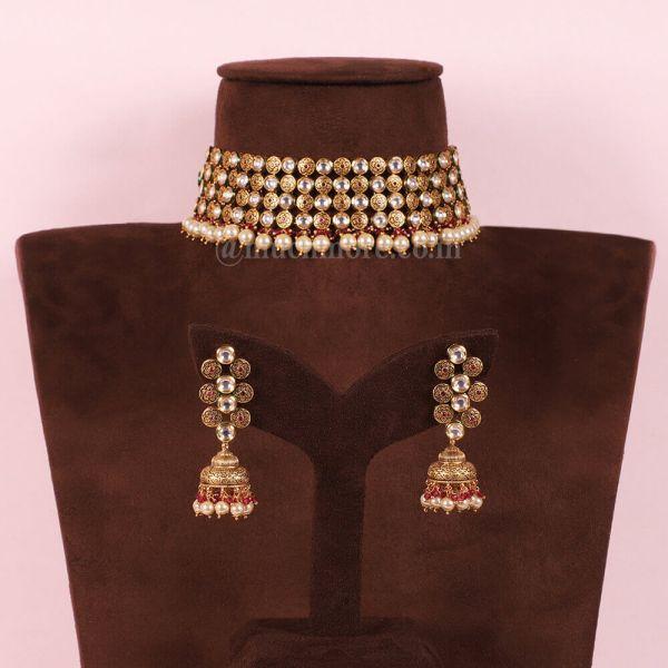 Kundan Pearl Hanging Choker Necklace With Jhumki Earrings