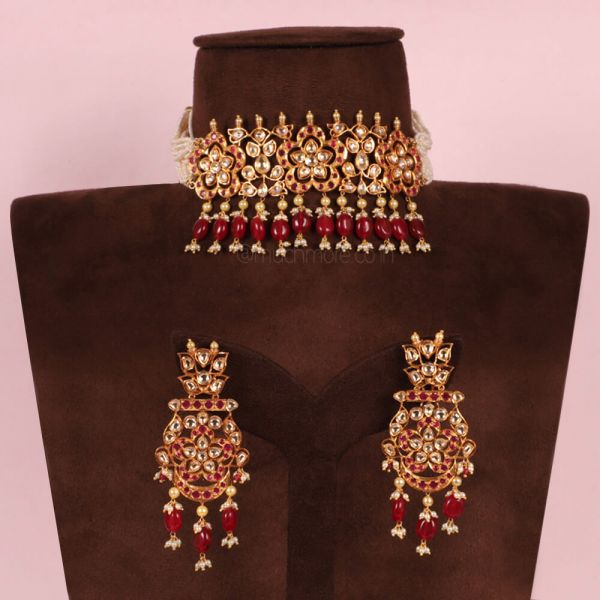 Uncut Ruby Choker Necklace With Big Earrings