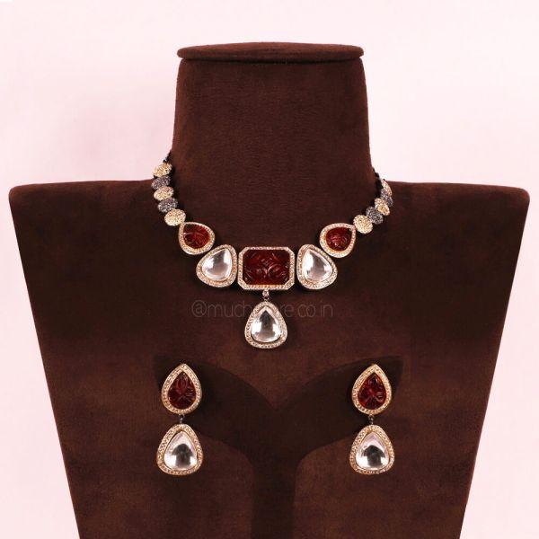 Big Polki Ruby Designer Necklace Set