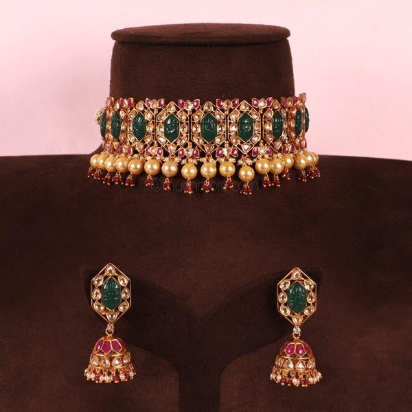 Emerald Green And Ruby Hyderabadi Choker Necklace Set