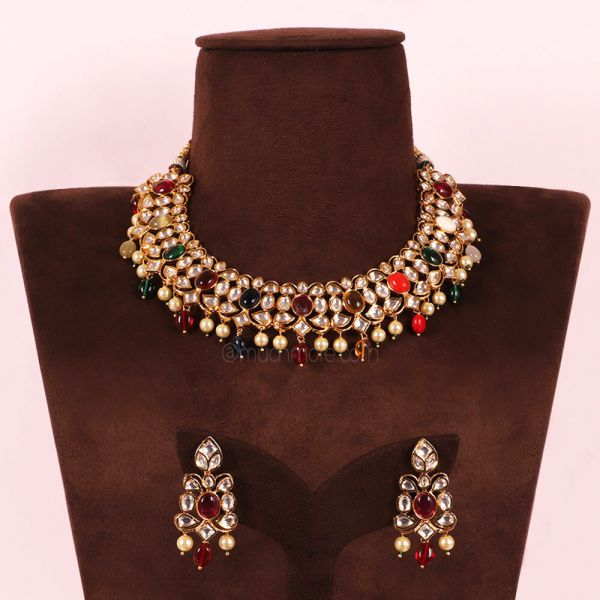 Designer Navratna Multicolor Necklace For Women