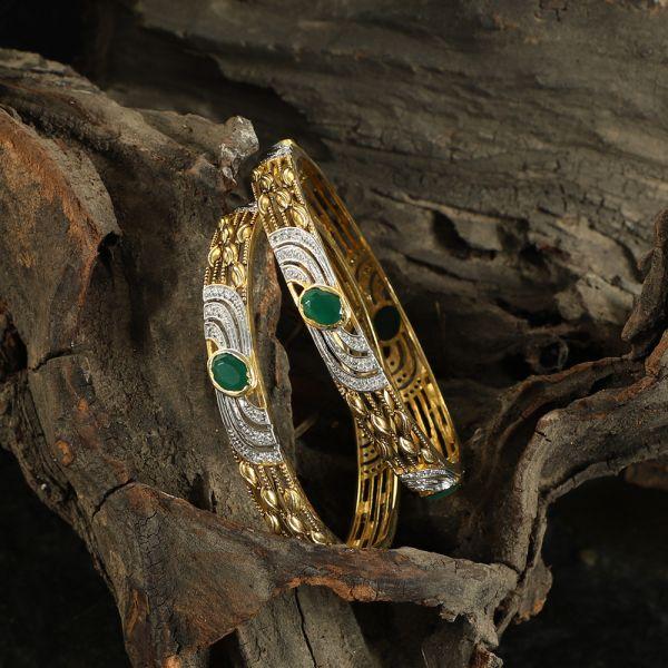 Diamond Zircon Green Bangle