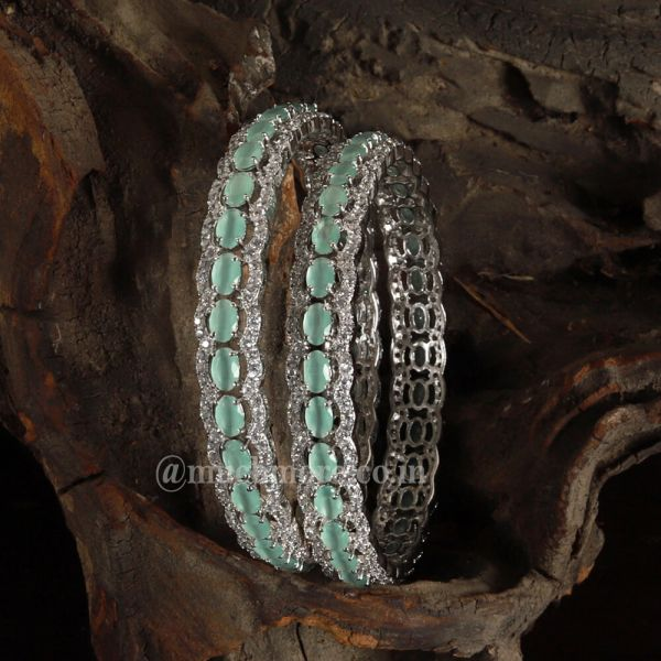 Designer Silver Plated Mint Green Diamond Bangles
