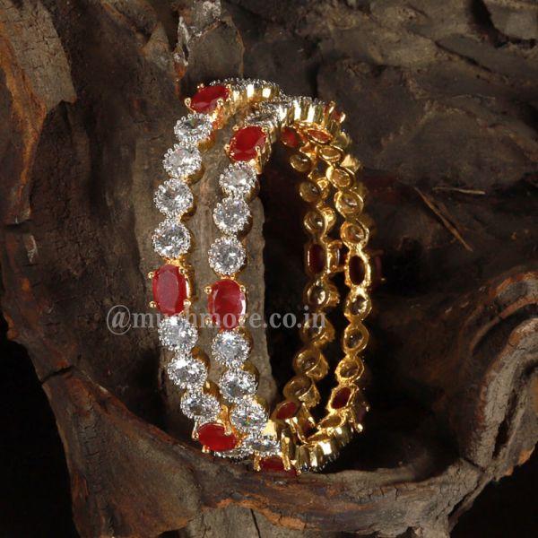 Imitation Diamond Embellished Pair of Designer Bangles
