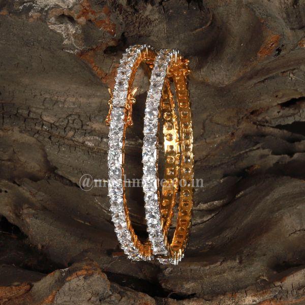 Diamond Sleek Side Openable bangle set 0f 2