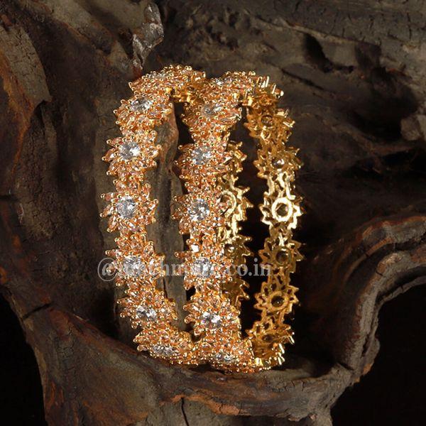 Diamond Embellished Gold Polish Diamond Bangle
