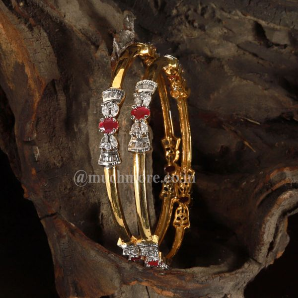 Brilliantly Cut Rubies And Diamonds Bow Bangles