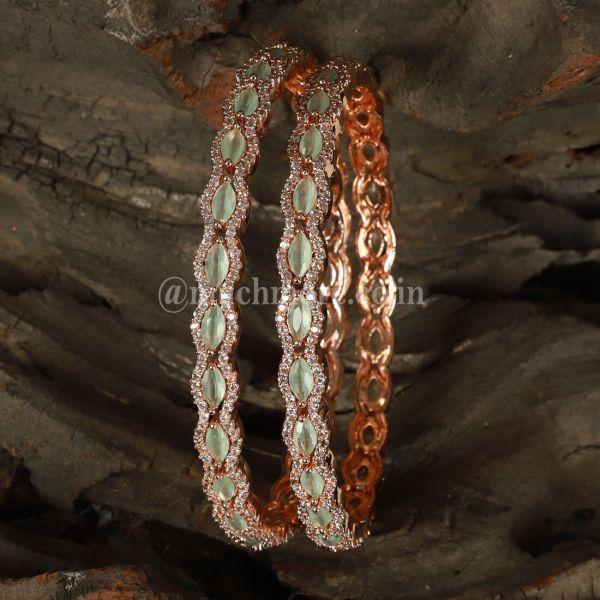 Rose Gold Bangle Set With Mint Green Diamond