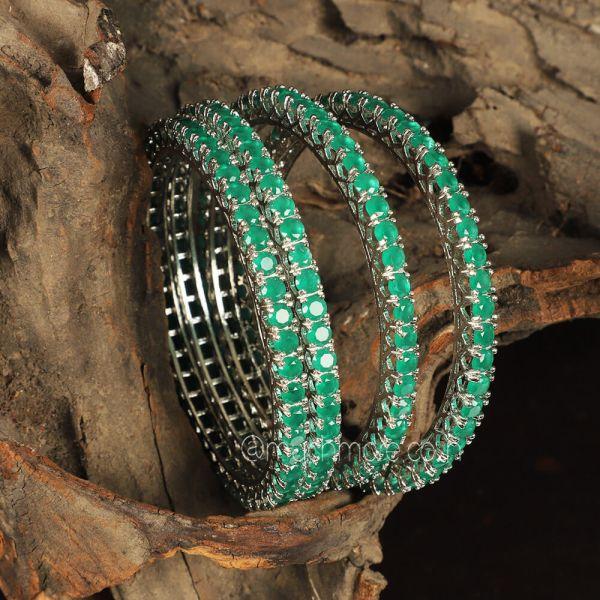 Silver Polish Emerald green Diamond Bangles