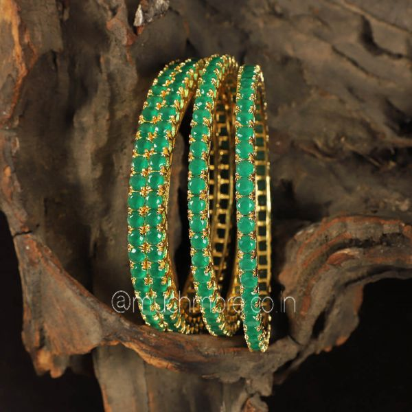 Gold Polish Emerald green Diamond Bangles Set Of 4