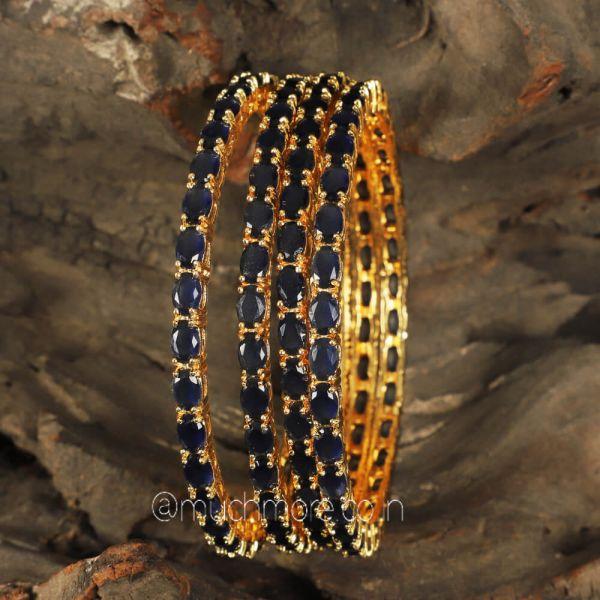 Sapphire Blue diamond Bangles For Women