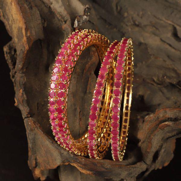 Ruby Color Diamond Set Of 4 Bangles Buy Now