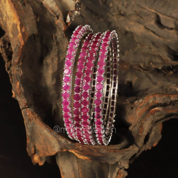 Silver Ruby Color Diamond Set Of 4 bangles Buy Now