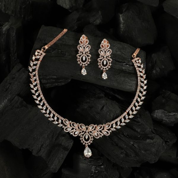Rose Gold Diamond Necklace Set