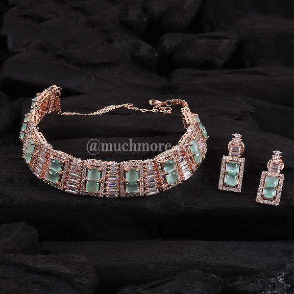 Stylish Diamond Harams Choker Set With Small Earring