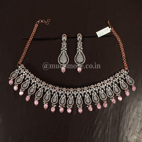 Stylish Black Polish Stone Diamond Necklace Set With Earrings