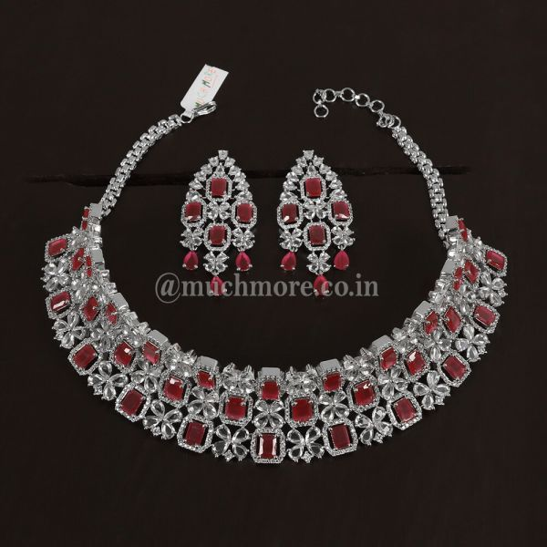 Silver & Ruby Studded Choker Necklace With Earrings