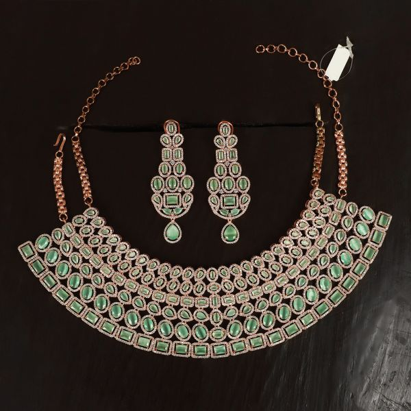Rose Gold Plated AD Studded Necklace For Wedding