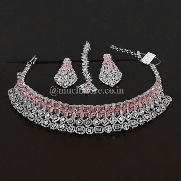 Silver Pink Diamond Choker With Earrings Tikka