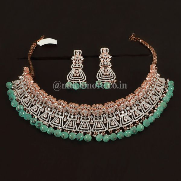 Green Studded Set In Rose Gold Polish Necklace With Earring