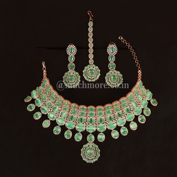 Luxury Indian Bridal Green Necklace Sets For Brides