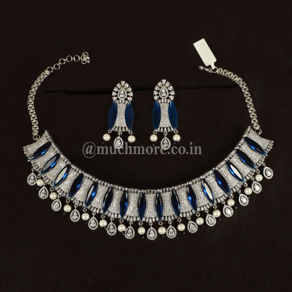 Montana Blue & White Austrian Crystal Necklace Set